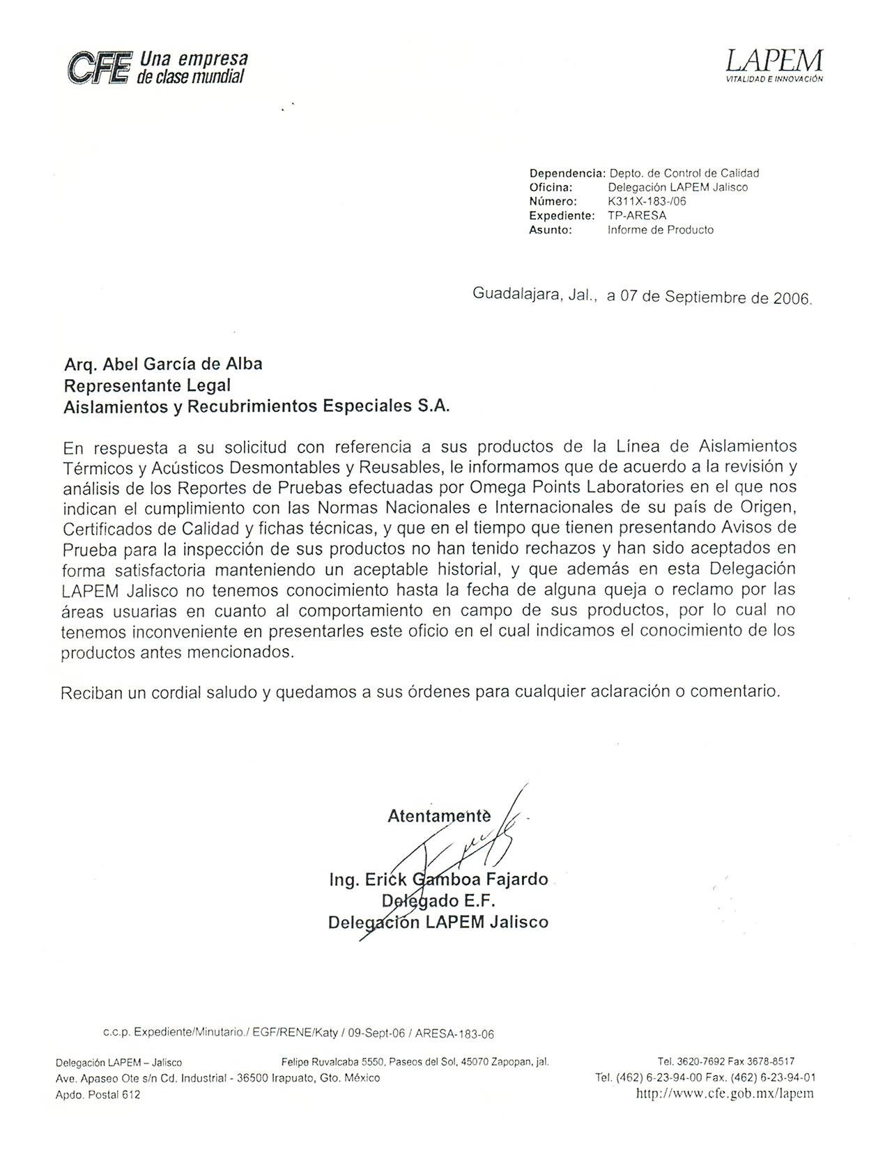 Carta testimonial CFE