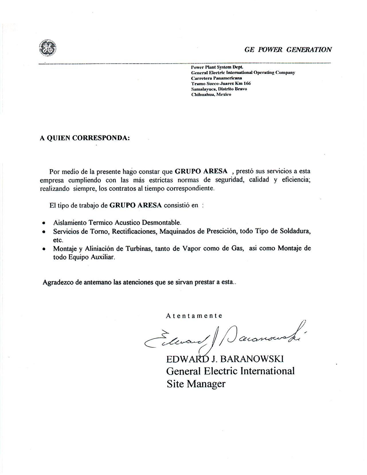 Carta testimonial GE