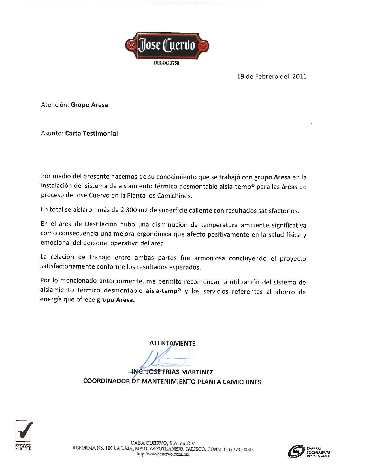 Carta Casa Cuervo