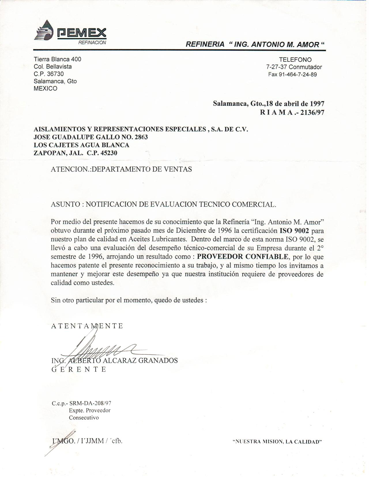 Carta testimonial Pemex